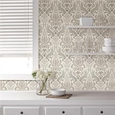 Grey Nouveau Damask Peel And Stick Wallpaper