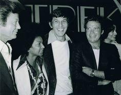 (L-R) DeForest Kelley, Nichelle Nichols, Leonard Nimoy and William Shatner. Promotional for Star Trek The Motion Picture. (1979-80)