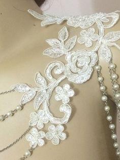 lace shoulder / ivory pearl / shoulder necklace / by WedWorld