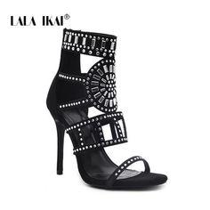 76c5f51f021 LALA IKAI Flock Crystal High Heels Sandals 11.5CM Women Zipper Glitter  Cross Sandals Bling Chic Pump Woman Shoes 014C1153 -35