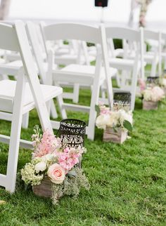 rustic wooden box and pink flowers wedding aisle decor / http://www.himisspuff.com/wooden-box-wedding-decor-centerpieces/6/