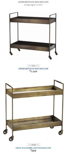 COPY CAT CHIC FIND: Arterior's Ponce Iron Bar Cart VS Crate and Barrel's Libations Bar Cart