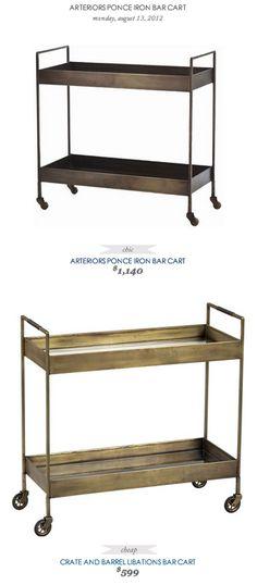 COPY CAT CHIC FIND: Arterior's Ponce Iron Bar Cart VS Crate and Barrel's Libations Bar Cart