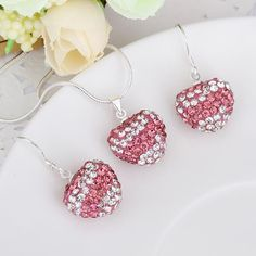 Austrian Crystal Element Multi-Pave Heart Drop Earring and Necklace Set-, Women's