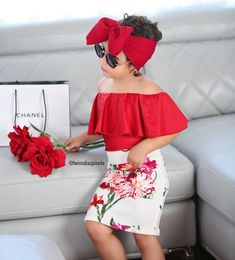 Clothes Kid Baby Girls Tops T-shirt Flower Skirt Dress Headband Outfit Clothes Set Girls Summer Outfits, Toddler Girl Outfits, Baby Girl Dresses, Baby Dress, Fashion Kids, Baby Girl Fashion, Outfits Niños, Kids Outfits, Two Piece Floral Dress