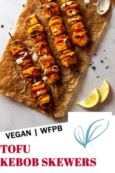 Recipe for vegan Tofu skewers. These healthy and quick vegetarian kebab are made with marinated tofu, bell pepper and onions. Those are grillable and perfect for your next BBQ when you plan grilling, A great fingerfood recipe for your next party. #veganskewers #veganbbq #vegantofu ##tofurecipes #vegankebab Vegan Bbq Recipes, Healthy Grilling Recipes, Vegan Grilling, Whole Food Recipes, Grilled Tofu, Marinated Tofu, Vegan Kebab, Bbq Tofu, Meat Substitutes