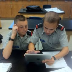 Engaging tactile learners in the classroom through the most innovative technology is important in the classroom. The is an image of Miss Shull's classroom in action. #Hargrave #MilitarySchool