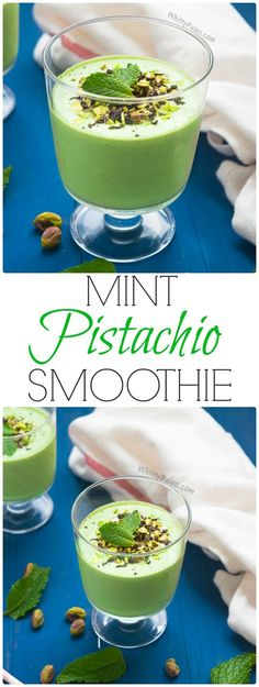Paleo and dairy free pistachio Mint Ice Cream Smoothie from WhittyPaleo.com