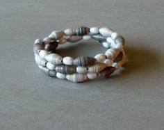 Paper and Glass Beaded Bracelet on Memory Wire.