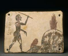Plaquette votive | Musée du Louvre | Paris Plaquette  Vers 575 - 550 avant J.-C.  Provenance : Penteskouphia  Corinthe  l. : 10 cm. ; L. : 7,20 cm. ; Pr. : 0,70 cm.  Acquisition, 1881
