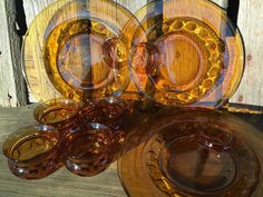 8 pc Retro glass snack trays and cups Gold by 1350Northvintage