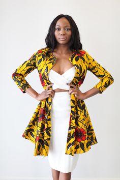 LA robe est veste Ankara NAIROBI en or Hibiscus par OmiWoods
