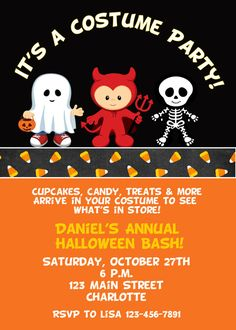 Halloween costume party invitation    by TheButterflyPress on Etsy, $10.00