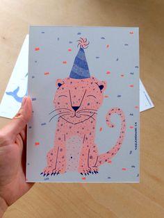 Nadia de Donno / Risography A5: 4 CHF tiger - illustration - green - pink Tiger Illustration, Chf, Graphic Design, Green, Handmade, Hands