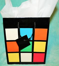 Set of 10 Rubik's Cube Inspired Party Favor Bags