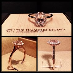 thediamondstudio:  I absolutely love the combo of rose gold and Morganite. This design was made with a 1.00ct oval Morganite. It was placed in an Italian pave oval halo. The thin plain shank kept the focus on the centre. I love this ring, do you?  It's perfect man. Like…I just got all misty eyed staring at it.