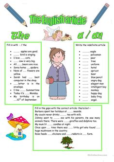 ARTICLES worksheet - Free ESL printable worksheets made by teachers Esl Articles, Use Of Articles, English Articles, English Lessons, Learn English, English Class, Grammar Exercises, English Exercises, Activities For Kids