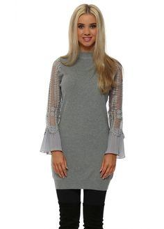 LAETITIA MEM Grey Crochet Sleeve Long Jumper