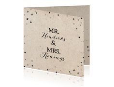Huwelijkskaart Mr en Mrs met zwarte en grijze confetti