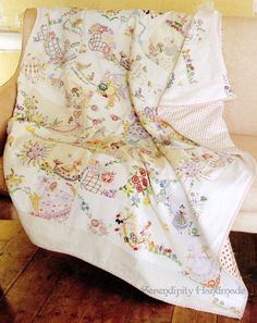 vintage embroidery quilt blocks