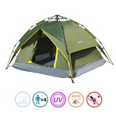 Tents 3 Person  sc 1 st  Pinterest & Camping Tent 3-4 Persons Family Automatic Pop Up Hiking ...