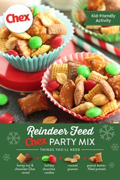 Mix up the yearly screening of your family's go-to flick with this kid-friendly snack! Packed with sweet candies, salty pretzels and more, Chex™ Reindeer Feed turns an old holiday tradition into a night to remember. Easy Holiday Recipes, Holiday Snacks, Christmas Party Food, Xmas Food, Snacks Für Party, Christmas Cooking, Christmas Desserts, Christmas Treats, Xmas Recipes