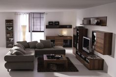 brown furniture with grey couch
