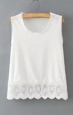 Fashiosummer women lace crop tops camisas femininas sweet hollow out sleeveless wave hem shirts casual slim blouses WT143 size med