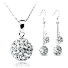 Silver White Double Drop Shamballa Necklace and Earrings Set