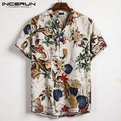Summer Men Shirt Cotton Ethnic Short Sleeve Turn-Down Collar Multi Color Lump Chest Round Hem Loose Linen Shirts Camisa Homme Shorts Casual, Casual Tops, Casual Shirts For Men, Men Shirts, Shirt Men, Loose Shirts, Henley Shirts, Long Sleeve Shirts, Stand Collar Shirt