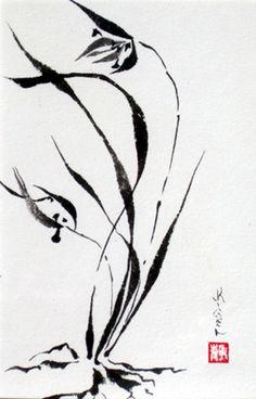 Sumi-e wild orchid