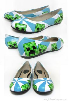 Hand-Painted Minecraft Creeper Flats I want it Minecraft Diy, Minecraft Shoes, Minecraft Outfits, Minecraft Costumes, Minecraft Stuff, Amazing Minecraft, Painting Minecraft, Shoe Crafts, Painted Shoes