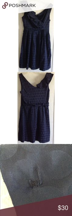 Blu Sage Polka Dot Ruffle Dress Good condition. The underneath ruffle on the shoulder had a hole in it that has been sewn up. It is covered up by the top ruffle. Few loose threads. Really pretty Blu Sage tea dress. Dark navy blue color. The fabric has polka dots woven into it. Cute ruffles on one side. The other side is ruched. It gives the dress a bit of a faux wrap look. Ties in the side of the back. V-neck front. Sleeveless. Pleats around the waist. Zips up the side. Size 6. All offers…