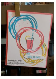 KimPlaysWithPaper.com    Stampin Up; Swirly Scribble thinlits; Mixed Drinks stamp set
