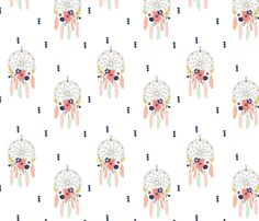 Boho Dream Catchers Floral Detail Mint Blush Navy Coral Gold  fabric by graceandcruzdesigns on Spoonflower - custom fabric