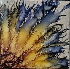 Flower in alcohol ink on tile
