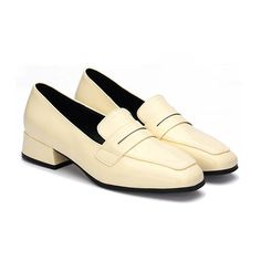 Yellow Classic Leather Look Square Toe Slip-on Loafers
