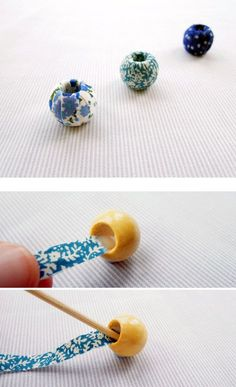 Fabric Covered Beads - tutorial, looks frustrating (my lack of patience!This tutorial will show you how to make beautiful little fabric covered beads. I wrote a fabric necklace tutorial last year which has proved very popular and thDiy thread wrapped Bead Crafts, Jewelry Crafts, Jewelry Art, Beaded Jewelry, Jewellery, Fabric Beads, Paper Beads, Textile Jewelry, Fabric Jewelry