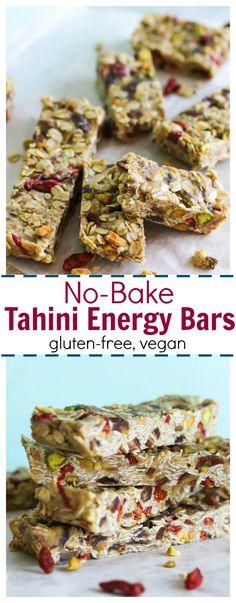 No-Bake Tahini Energy Bars (gluten free, vegan-friendly)   dishingouthealth.com