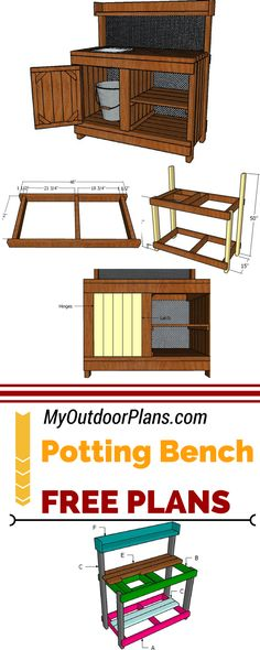 Learn how to build this potting bench with sink, so you save time while working with your favorite plants and flowers. Step by step instructions and detailed diagrams on how to build a potting bench with sink at myoutdoorplans.com #diy #pottingbench