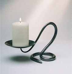 Image detail for -Candlestick: Single Round - Belltrees Forge Candlesticks… Metal Projects, Metal Crafts, Support Bougie, Wrought Iron Candle Holders, La Forge, Blacksmith Projects, Candle In The Wind, Deco Originale, Steel Art