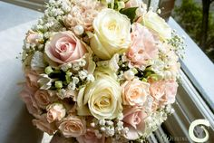 Romantic blush pink and ivory wedding bouquet