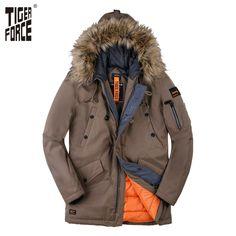 b30f85fa386 TIGER FORCE 2017 Новая Коллекция Мужская Парка Зимнее Пальто Мужская Модная  Куртка Длинная Парка Мужская Искусственный