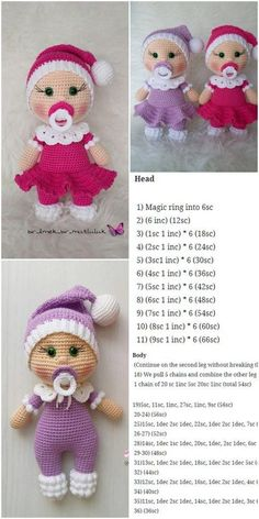 plus - crochet , Amigurumi Doll Pacifier Baby Free Crochet Pattern - Crochet.plus Amigurumi Doll Pacifier Baby Free Crochet Pattern - Crochet.plus Amigurumi - . Crochet Dolls Free Patterns, Amigurumi Patterns, Crochet Toys, Knitting Patterns, Scarf Crochet, Afghan Patterns, Knitting Ideas, Knitted Dolls Free, Easter Crochet