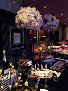 Black tie gala table by Glam Candy Buffets.