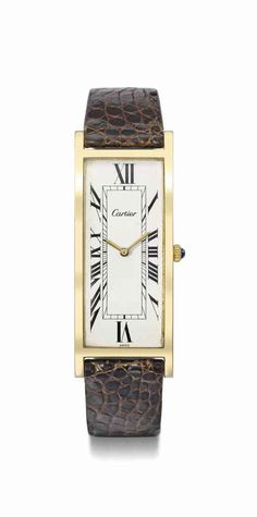 Cartier. A fine and rare 18K gold plated rectangular curved wristwatch, circa 1960 #ChristiesWatches