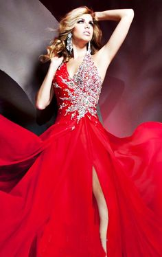 RED gown with starburst sparkle