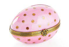 Polka dot porcelain egg-shaped box...how perfect!