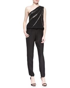 Sequined One-Shoulder Jumpsuit, Black at CUSP.