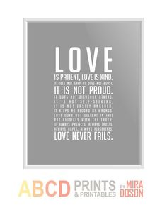 Bible verse bible quote print Love is patient 8x10 by MiraDoson, $11.00